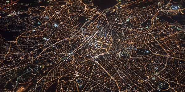 City from plane at night